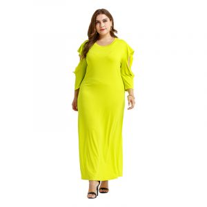 Large Size Dress Bright Knitted Bottoming off-the-Shoulder Sleeves Straight Loose Comfortable Dress - Lemon Yellow - XXX Large