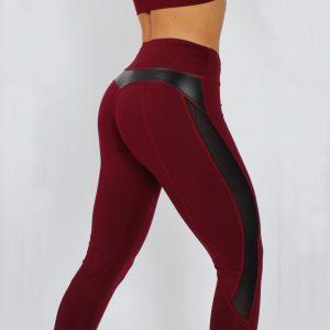 Hot Pu Stitching Patchwork Yoga Pants Sports Fitness Black Leggings - Burgundy - Extra Large