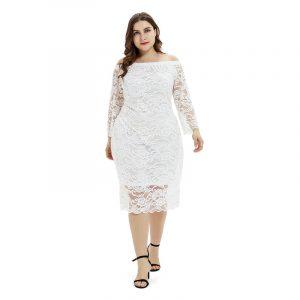 Autumn New  plus Size Women  Clothes Lace Temperament Commuter Sheath Dress - White - XXXX Large