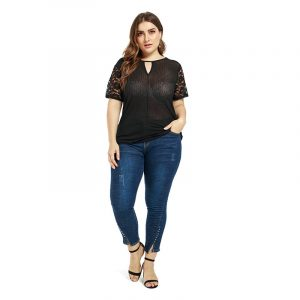Plus Size Women   Clothes Temperament Commute Lace Stitching Sexy See-Through Single-Wear Bottoming Top - Black - XXX Large