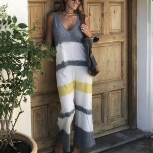 2021 Summer New Ladies Fashion Loose Fitting Sleeveless Shirt Printed Jumpsuit - Gray - Extra Large