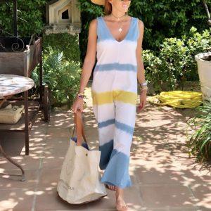 2021 Summer New Ladies Fashion Loose Fitting Sleeveless Shirt Printed Jumpsuit - Multi - Extra Large