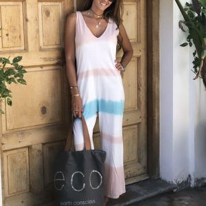 2021 Summer New Ladies Fashion Loose Fitting Sleeveless Shirt Printed Jumpsuit - Pink - Extra Large