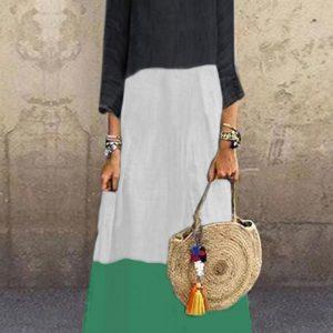 2021 New Women Clothing  Loose Three Quarters Sleeve Mid Length Women Dress - Black - XX Large