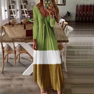 2021 New Women Clothing  plus Size Loose Fitting V Neck Long Sleeves Dress - Green - XX Large