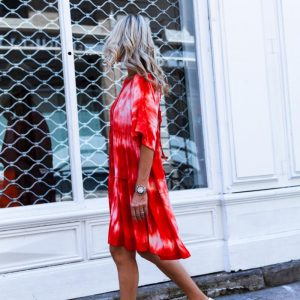 2021 Autumn and Winter New Women Clothing Round Neck Shirt with Half Sleeve Tie Dye Loose Dress - Red - Extra Large