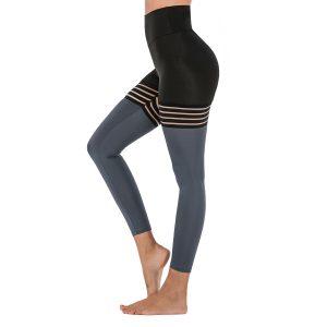 New Black Patchwork Yoga Pants Butt Wrinkle High Waist Black Sports Leggings - Gray - Extra Large