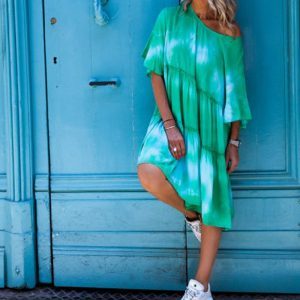 2021 Autumn and Winter New Women Clothing Round Neck Shirt with Half Sleeve Tie Dye Loose Dress - Green - Extra Large