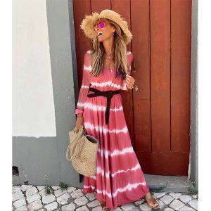2021 Autumn New Women Clothing Women Long Sleeve plus Size Striped Midi Dress - Burgundy - XX Large