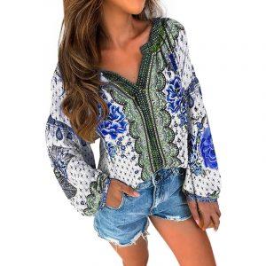 2021 Open Collar Ethnic Print Long Sleeve Mid Length Shirt - Blue - XX Large