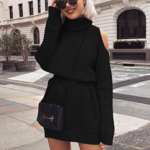 Autumn and Winter  New Knitwear Women  Hot Mid-Length Turtleneck off-Shoulder Dress Sweater Plus size - Black - XXXXX Large