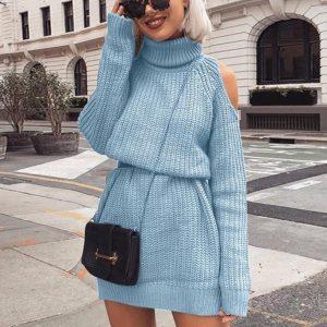 Autumn and Winter  New Knitwear Women  Hot Mid-Length Turtleneck off-Shoulder Dress Sweater Plus size - Blue - XXXXX Large