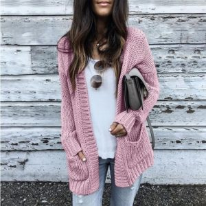 Autumn and Winter New   Hot Exclusive  Knitted Cardigan Sweater Coat - Pink - XXXXX Large