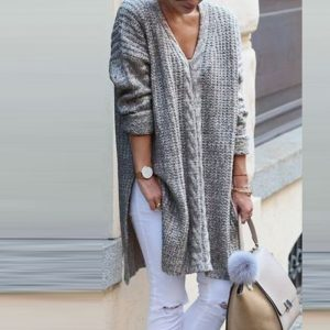 Autumn and Winter  Cable-Knit Sweater Mid-Length Split Pullover Loose V-neck Women Clothing Woolen Skirt Plus size - Gray - XXX Large