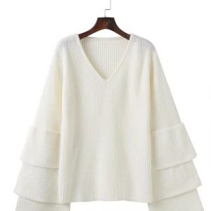 Autumn and Winter New V-neck Laminated Bell Sleeve Loose Slimming Jumper Women Bottoming Sweater Plus size - White - XXX Large