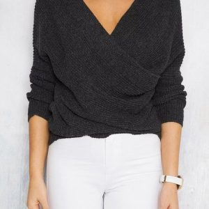 Spring and Autumn Popular  V-neck Pullover Sweater Women Sweater Wish - Black - One Size