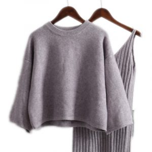 Korean Style Loose Sweater Suit Women Fashion Two-Piece Suit Skirt Season Solid Color Student Pullover Sweater - Gray - One Size