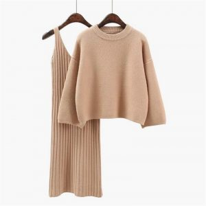 Korean Style Loose Sweater Suit Women Fashion Two-Piece Suit Skirt Season Solid Color Student Pullover Sweater - Khaki - One Size