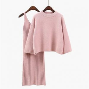 Korean Style Loose Sweater Suit Women Fashion Two-Piece Suit Skirt Season Solid Color Student Pullover Sweater - Pink - One Size