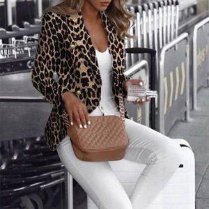 2021 Blazer Autumn New Women Clothing Fashion Slim Fit Temperament Leopard Print Printed Small Suit Jacket - Black - XX Large