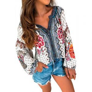 2021 Open Collar Ethnic Print Long Sleeve Mid Length Shirt - Red - XX Large