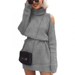 Autumn and Winter  New Knitwear Women  Hot Mid-Length Turtleneck off-Shoulder Dress Sweater Plus size - Gray - XXXXX Large