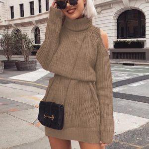 Autumn and Winter  New Knitwear Women  Hot Mid-Length Turtleneck off-Shoulder Dress Sweater Plus size - Khaki - XXXXX Large