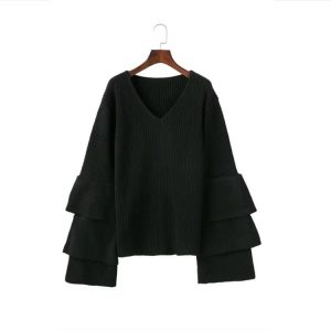 Autumn and Winter New V-neck Laminated Bell Sleeve Loose Slimming Jumper Women Bottoming Sweater Plus size - Black - XXX Large