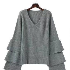 Autumn and Winter New V-neck Laminated Bell Sleeve Loose Slimming Jumper Women Bottoming Sweater Plus size - Gray - XXX Large