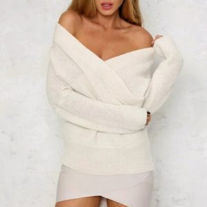 Spring and Autumn Popular  V-neck Pullover Sweater Women Sweater Wish - White - One Size