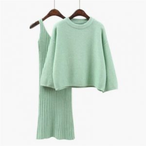 Korean Style Loose Sweater Suit Women Fashion Two-Piece Suit Skirt Season Solid Color Student Pullover Sweater - Mint - One Size
