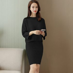 Korean Style Loose Sweater Suit Women Fashion Two-Piece Suit Skirt Season Solid Color Student Pullover Sweater - Black - One Size