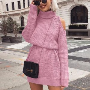 Autumn and Winter  New Knitwear Women  Hot Mid-Length Turtleneck off-Shoulder Dress Sweater Plus size - Pink - XXXXX Large