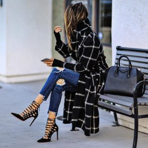 Autumn and Winter Women Clothing Popular Mid Length Graceful and Fashionable Plaid Wool Coat - Black - XX Large
