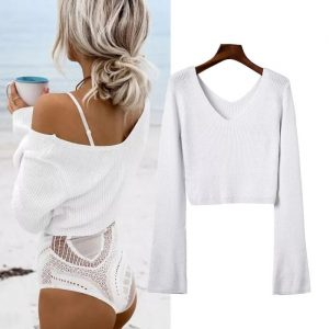 New V-neck Ultra Short Pullover Fashion Flared Sleeves All-Matching Knitted Sweater Women Plus size - White - XXX Large
