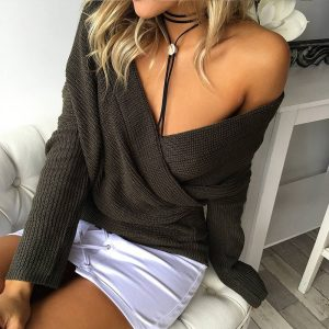 Spring and Autumn Popular  V-neck Pullover Sweater Women Sweater Wish - Dark Grey - One Size