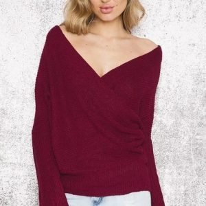 Spring and Autumn Popular  V-neck Pullover Sweater Women Sweater Wish - Burgundy - One Size