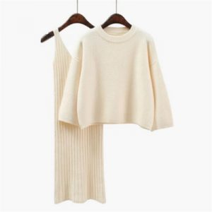 Korean Style Loose Sweater Suit Women Fashion Two-Piece Suit Skirt Season Solid Color Student Pullover Sweater - White - One Size