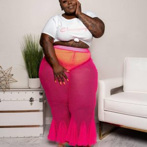 Fashion plus Size Ruffles Solid Color plus Size Women  Clothing Mesh See-through Sexy Pants - Coral Red - XXXX Large