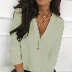 2021 Autumn Women Top  Popular Solid Color Sexy V-neck Shirt Long Sleeve Casual All-Matching Shirt - Avocado Color - XX Large