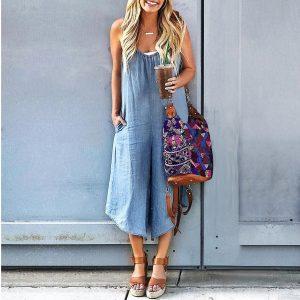 2021 Plus Size Suspender Jumpsuit Summer Denim Wide Leg Loose Casual Pants Pocket Suspender Pants - Light Blue - XXX Large