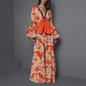 Plus Size Summer Women Fashion Middle East Popular Sexy V Neck Printed Jumpsuit - Orange - XXX Large
