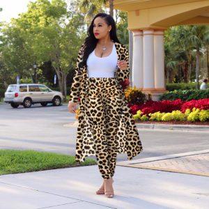 Autumn New Fashion Leopard Print Sexy Slim Fit Two-Piece Suit Suit  Plus Size Women  Clothing - Leopard - XXXX Large