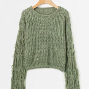 Autumn and Winter New Women Fashion round Neck Sleeve Tassel Knitted Sweater  Expert Women - Green - One Size