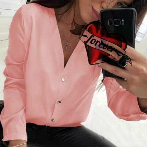 2021 Autumn Women Top  Popular Solid Color Sexy V-neck Shirt Long Sleeve Casual All-Matching Shirt - Pink - XX Large
