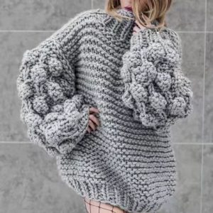 Autumn and Winter New  Style  Hand-Woven Ball Lantern Sleeve Pullover Sweater for Women Plus size - Gray - XXXX Large