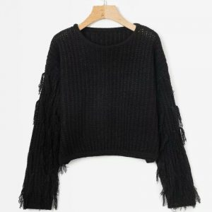 Autumn and Winter New Women Fashion round Neck Sleeve Tassel Knitted Sweater  Expert Women - Black - One Size