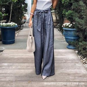 2021 Plus Size Hot Women Clothing Loose Casual Trousers Wide Leg Pants for Women - Navy Blue - XXX Large