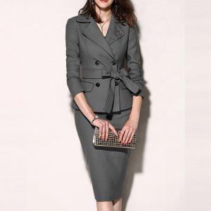 2021 Plus Size Early Autumn New  Women Clothing Fashion Leisure Professional Suit Dress - Gray - XXX Large