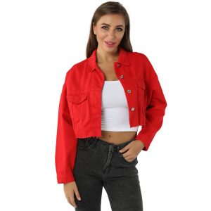Denim Jacket Women Casual Loose Top Jacket - Red - Extra Large